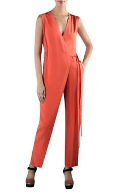 Rohit Gandhi + Rahul Khanna Orange viscose wrap jumpsuit