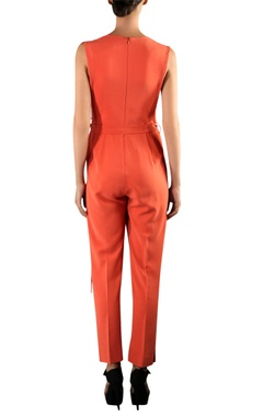 Orange viscose wrap jumpsuit