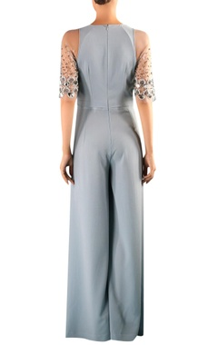 Grey viscose embellised jumpsuit