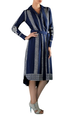 Rohit Gandhi + Rahul Khanna Blue viscose hand embroidered & applique dress