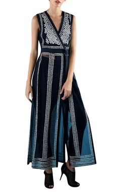 Rohit Gandhi + Rahul Khanna Navy blue nylon embroidered long tunic