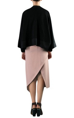 Black cotton viscose asymmetric cape