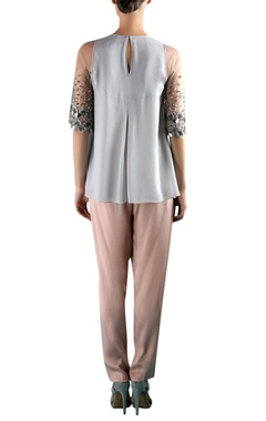 Grey viscose pin tuck & embellished blouse