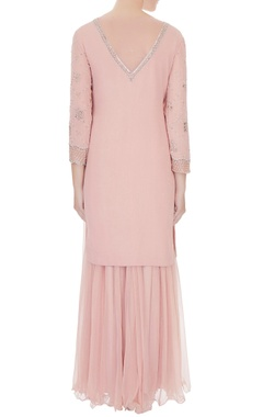 Old rose embroidered georgette & net kurta with georgette flared pants & net dupatta
