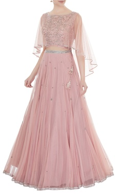 Zoraya Old rose embroidered net & silk blouse with net cape