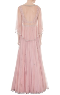 Old rose embroidered net & silk blouse with net cape