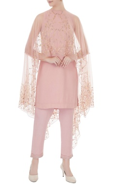 Zoraya Old rose embroidered georgette kurta with net cape & georgette pants