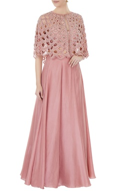 Zoraya Old rose embroidered georgette cut-out cape with blouse & silk skirt