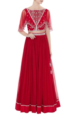Zoraya Red embroidered silk & net blouse with georgette skirt