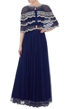 Zoraya Navy blue embroidered net bolero with georgette blouse & net skirt