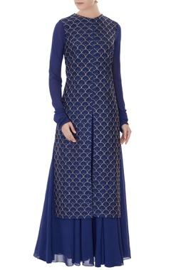 Zoraya Navy blue embroidered georgette dress with georgette jacket