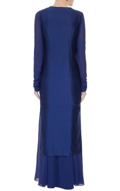 Navy blue embroidered georgette dress with georgette jacket