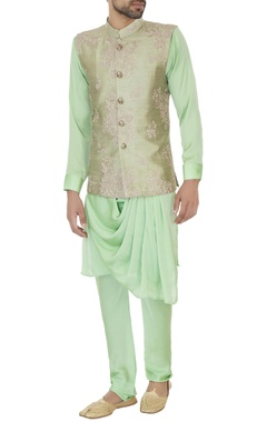 Light green raw silk zari embroidered bundi