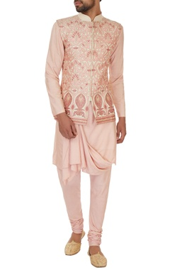 Cream & peach silk thread work & applique embroidered bundi