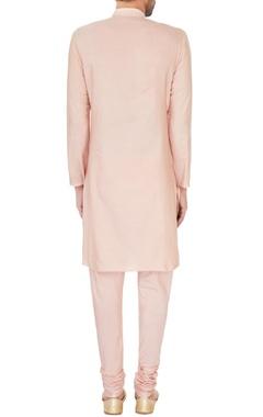 Peach cotton silk draped kurta and churidar