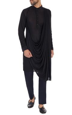 Black Viscose cotton knit draped kurta with cotton gabadine trouser
