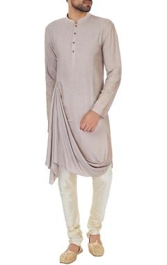 Biscuit beige cotton silk draped kurta with light golden beige churidar