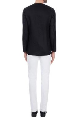Black linen solid short kurta