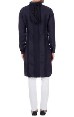 Navy blue linen military style kurta