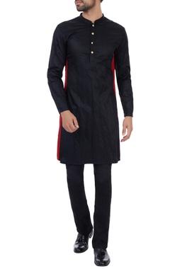 Kunal Rawal Black metallic accents classic kurta