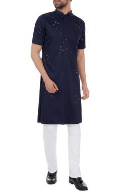 Kunal Rawal Navy blue poplin splatter print classic kurta