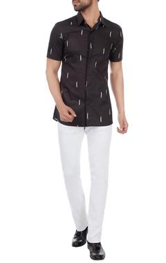 Kunal Rawal Black ikat print classic shirt
