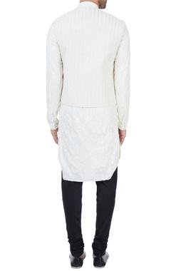 Vanilla kurta with vanilla suiting fabric embroidered bundi