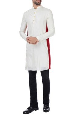 Kunal Rawal Vanilla silk classic kurta with red border on sides