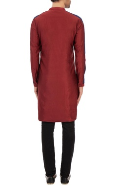 Maroon baby cord kurta with triple striped pattern