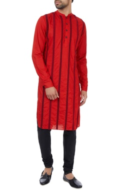 Red paper silk striped embroidered kurta