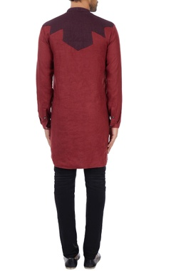 Maroon linen abstract detail classic kurta