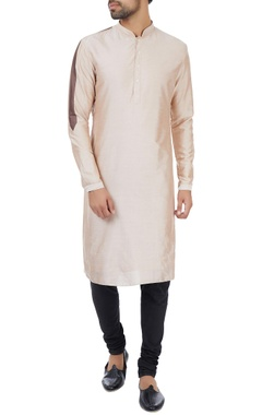 Kunal Rawal Dusty salmon striped detail classic kurta