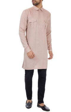 Kunal Rawal Dusty salmon military kurta