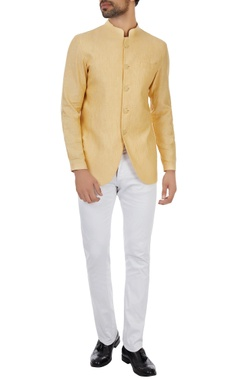 Kunal Rawal Yellow unlined linen bandgala
