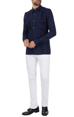 Kunal Rawal Navy blue linen military shirt