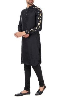 Kunal Rawal Black patterned sleeves kurta