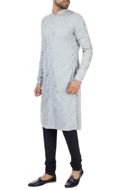 Kunal Rawal Ice blue kashmiri embroidered kurta