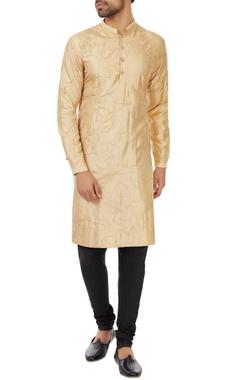 Kunal Rawal Champagne silk camo stitch  kurta