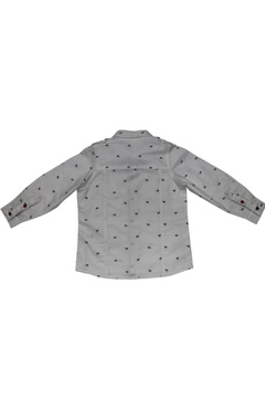 White cotton horse print shirt with double pockets