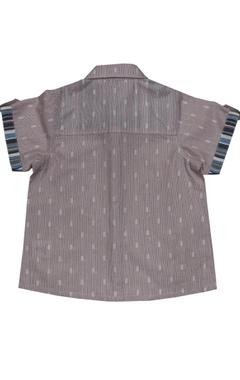 Peach cotton striped shirt