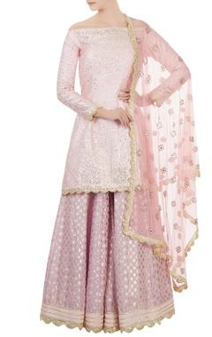 Lilac dupion silk sequin kurta with chanderi sharara & net dupatta