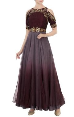 Grey & wine dupion silk embroidered gown