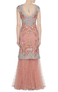 Peach net resham & silver sequin embroidered kurta & sharara set