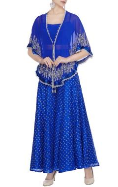Bright blue georgette pearl & sequin embroidered cape set