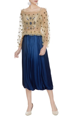 Beige off-shoulder net sequin embroidered blouse with crop top