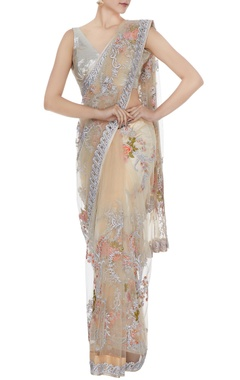 Peach floral jaal embroidered sari