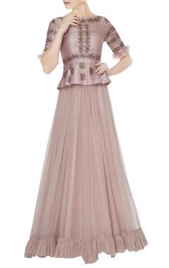 Mrunalini Rao Lilac peplum layer hand embroidered raw silk & chiffon gown