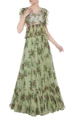Green foliage zardozi hand embroidered peplum skirt set