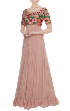 Mrunalini Rao Rose gold hand embroidered floral blouse with pleated skirt