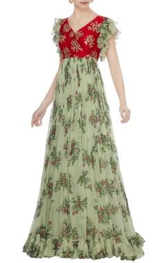Mrunalini Rao Red raw silk zardozi hand embroidered & chiffon gown